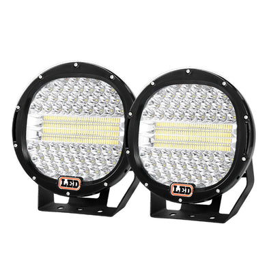 Pair 9inch CREE LED Driving Lights Spotlights Spot Flood Combo 4x4 OffRoad 9inch