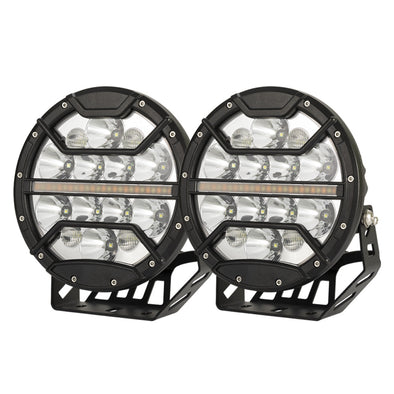 Pair 9inch CREE LED Driving Lights Spotlights Spot Flood Combo 4x4 OffRoad SUV Automotive