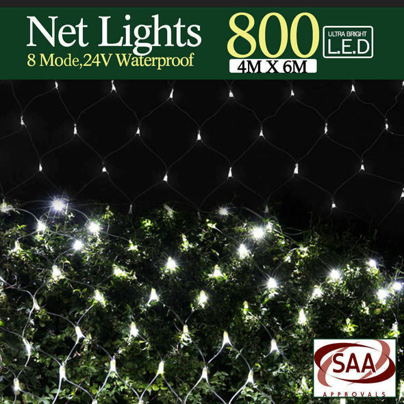 6x4M 800 LED String Fairy Light Net Mesh Curtain Xmas Wedding Party Warm White