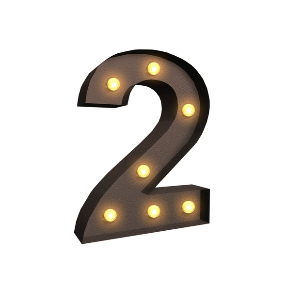 LED Metal Number Lights Free Standing Hanging Marquee Event Party D?cor Number 2