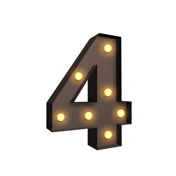 LED Metal Number Lights Free Standing Hanging Marquee Event Party D?cor Number 4