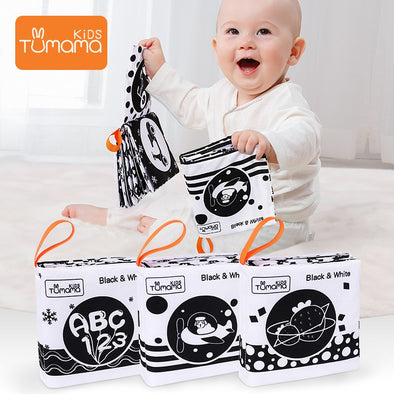 3PCS Cloth Books Black White Soft Baby Toys Book Cute Animal Quiet Book  Infant Toys Early Learning Educational Toys 0 -12 Month