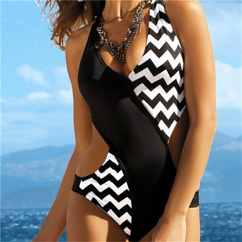 Halter Hollow Out Side Waist One-Piece Swimsuit