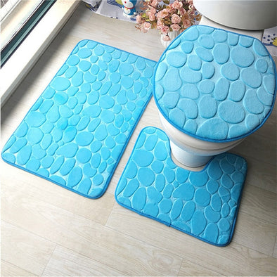 3Pcs/set Bathroom Mat Set Flannel Anti-Slip Kitchen Bath Mat Carpet Bathroom Toliet Rug Washable