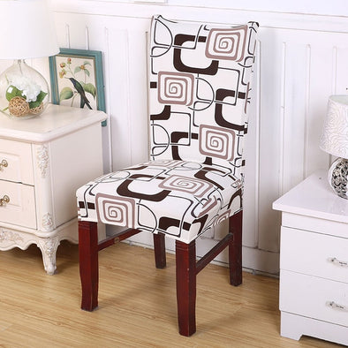 Removable  Anti-dirty Chair Cover Spandex for Kitchen - Brown & White