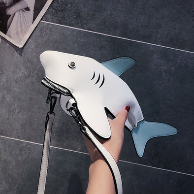 Shark Leather Crossobdy Pouch Bag
