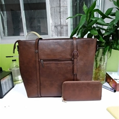TINKIN Vintage 2 Pcs/Set Leather Bag