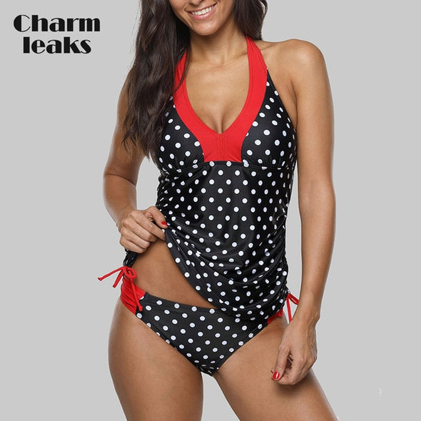 CHARMLEAKS Polka Dot Swimsuit