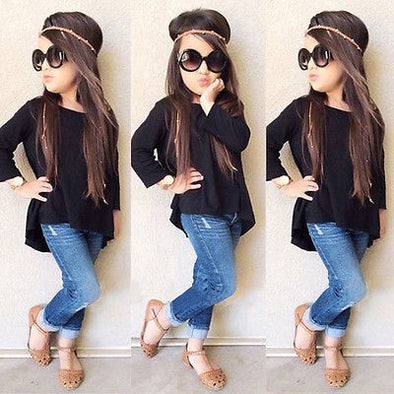2PC Outfit Children Suit  Fashion Toddler Kids Clothing Set Baby Girls Solid Black Long T-shirt Tops + Jean Denim Pant