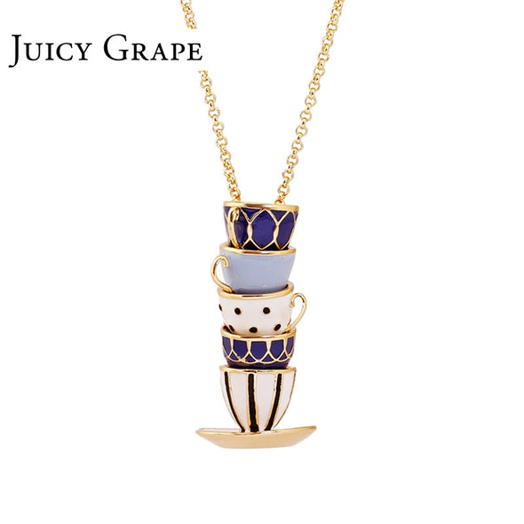 Hand Made Chain Clothing Accessories Long Necklace Enamel Jewelry Tea Cup Necklace Pendant Woman