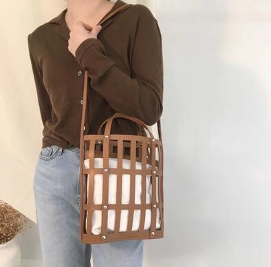 2019 New Hollow Bucket bag women handbag larger capacity PU leather shoulder bag Casual Beach Bag Totes Bag Spring and summer