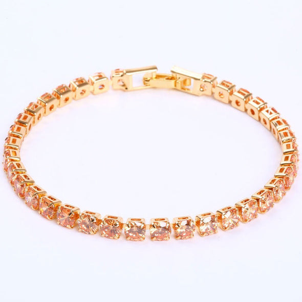 Luxury 4mm Cubic Zirconia Tennis Bracelets Iced Out Chain Crystal Wedding Bracelet For Women Men Gold Silver Bracelet Jewelry