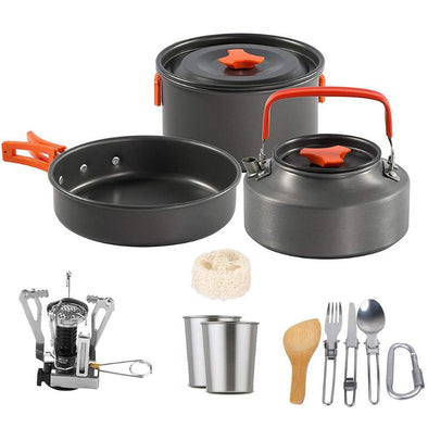 Portable Outdoor Camping Cookware with Stove