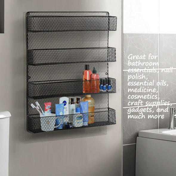 4 Tier Wall Door Wire Pantry Cabinet Spice Rack Storage Organiser Kitchen Shelf