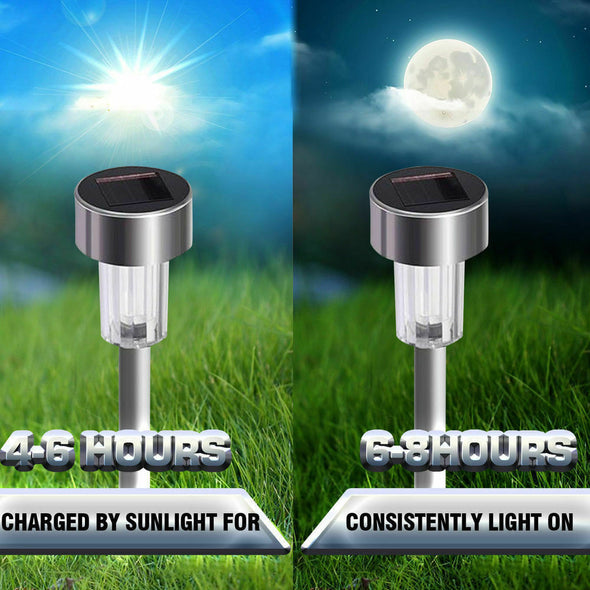 16 Pcs LED Solar Stainless Steel Garden Light Outdoor Landscape Path Lawn Lamp