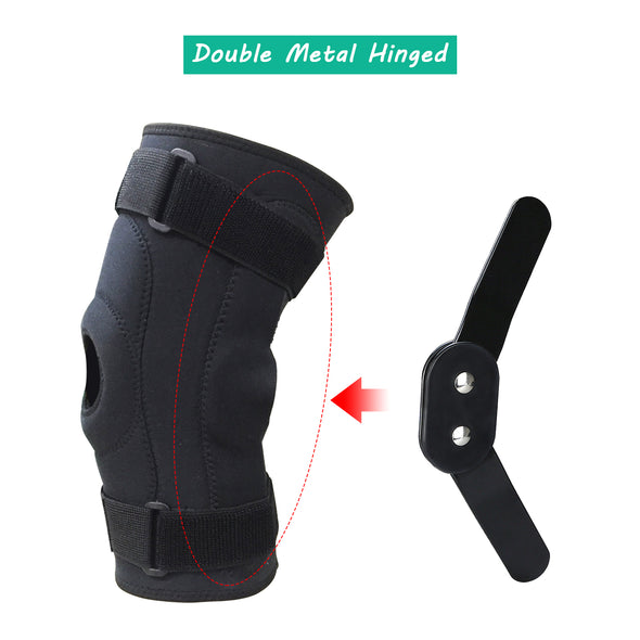 Double Metal Hinged Full Knee Support Brace Knee Protection Equipment Size M