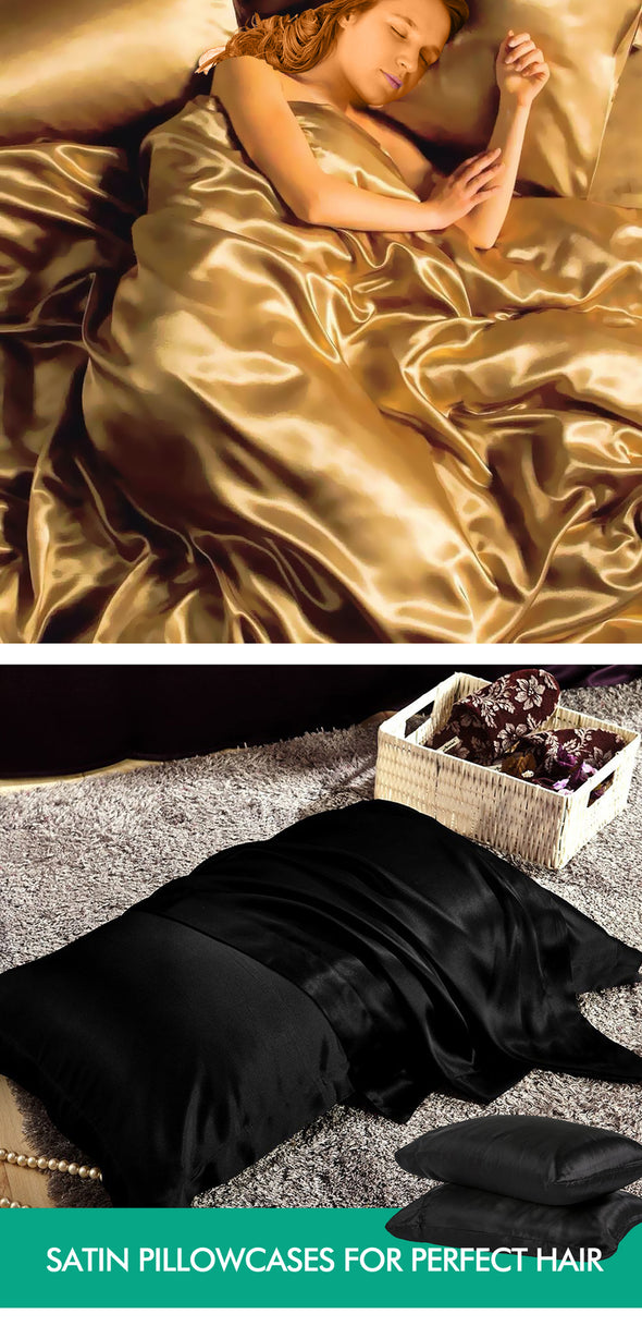 DreamZ Ultra Soft Silky Satin Bed Sheet Set in Double Size in Black Colour