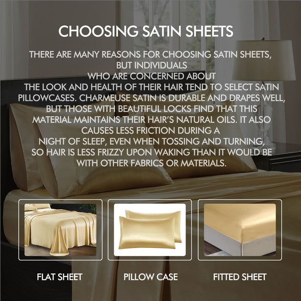 DreamZ Ultra Soft Silky Satin Bed Sheet Set in King Size in Charcoal Colour
