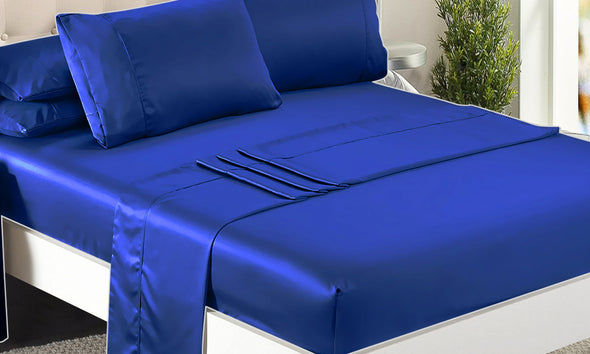 DreamZ Ultra Soft Silky Satin Bed Sheet Set in King Single Size Navy Blue Colour