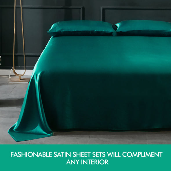 DreamZ Ultra Soft Silky Satin Bed Sheet Set in Queen Size in White Colour