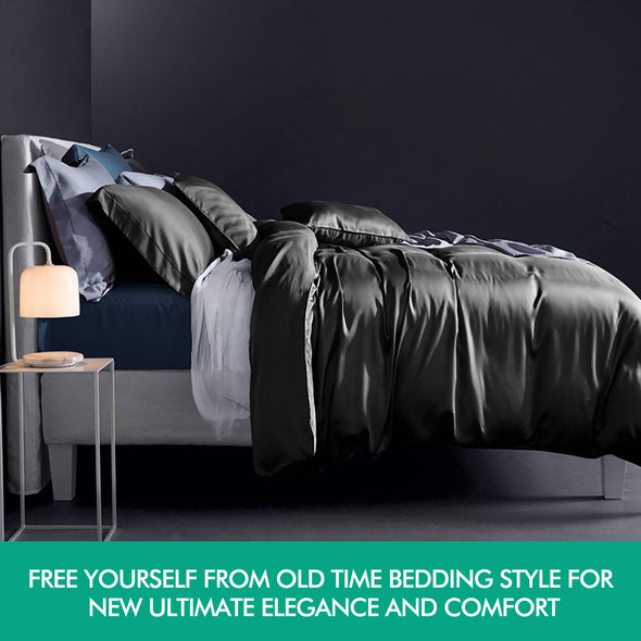 DreamZ 1000TC Silk Satin Duvet Cover Set in Double Size in Black Colour
