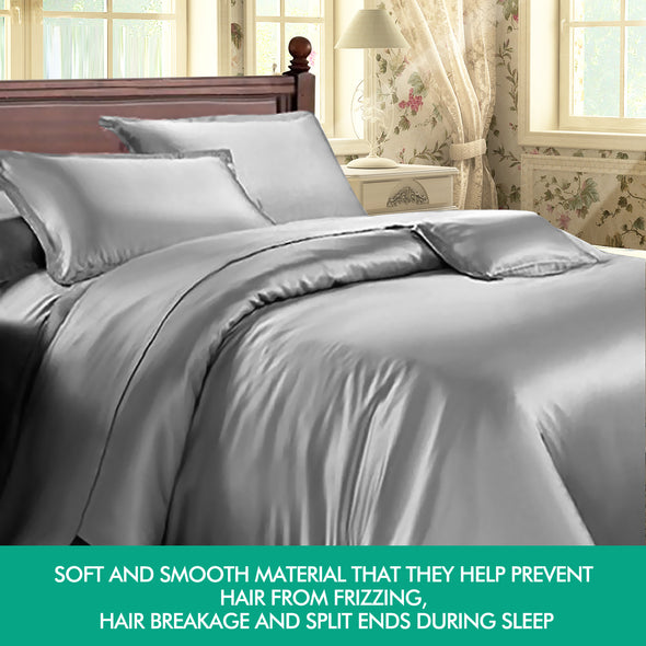 DreamZ 1000TC Silk Satin Duvet Cover Set in King Size in Ivory Colour