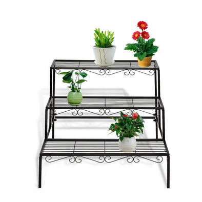 Levede 3 Tier Rectangle Metal Plant Stand Flower Pot Planter Corner Shelf Black