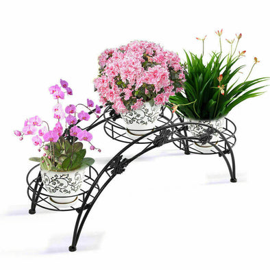 2X Outdoor Indoor Plant Stand Metal Black Flower Pot Shelf Garden Corner Shelves