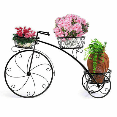 2x Outdoor Indoor Pot Plant Stand Garden Decor Flower Rack Wrought Iron Bicycles