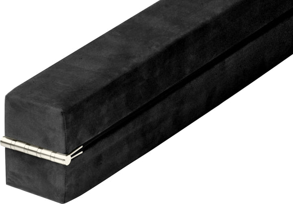 2.2m Gymnastics Folding Balance Beam Black Synthetic Suede