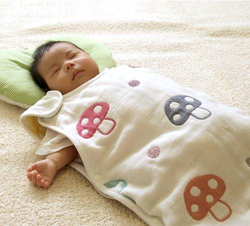 Hoppetta Six-Layered Gauze Sleeping Bag - Champignon / Rapin (Small / 0-3y)