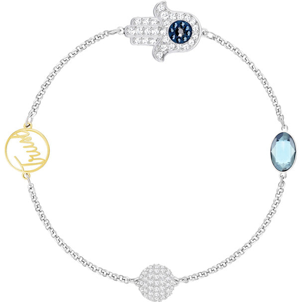 SWAROVSKI REMIX COLLECTION HAMSA HAND SYMBOL STRAND, BLUE, MIXED PLATING.  [ FREE SHIPPING ]