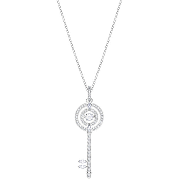 SWAROVSKI SPARKLING DANCE KEY PENDANT, WHITE, RHODIUM PLATING.  SPARKLING DANCE KEY [ FREE SHIPPING ]
