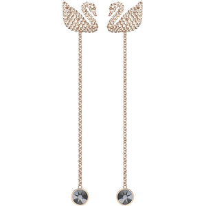SWAROVSKI ICONIC SWAN PIERCED EARRINGS, WHITE, ROSE GOLD PLATING.   ICONIC SWAN [ FREE SHIPPING ]