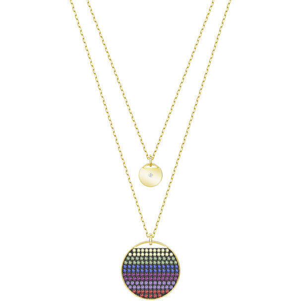 SWAROVSKI GINGER LAYERED PENDANT, MULTI-COLORED, GOLD PLATING.  GINGER [ FREE SHIPPING ]