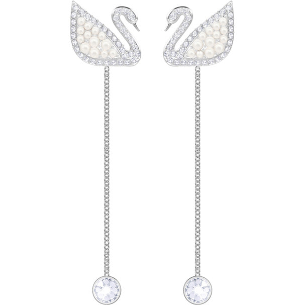 SWAROVSKI ICONIC SWAN PIERCED EARRINGS, WHITE, RHODIUM PLATING.   ICONIC SWAN [ FREE SHIPPING ]