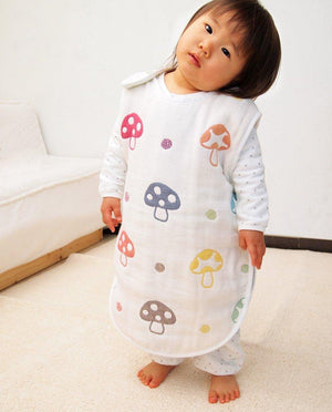 Hoppetta Six-Layered Gauze Sleeping Bag - Champignon / Rapin (Large / 2-7y) *PRE-ORDER