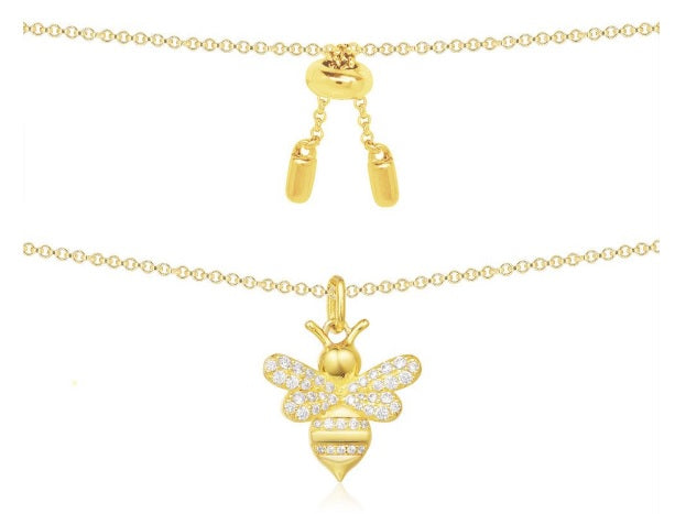apm Monaco Yellow Silver Necklace With Bumble Bee Pendant [ FREE SHIPPING ]