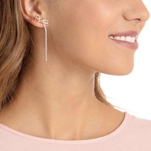 SWAROVSKI LIFELONG BOW PIERCED EARRINGS, WHITE, MIXED PLATING [ FREE SHIPPING ]