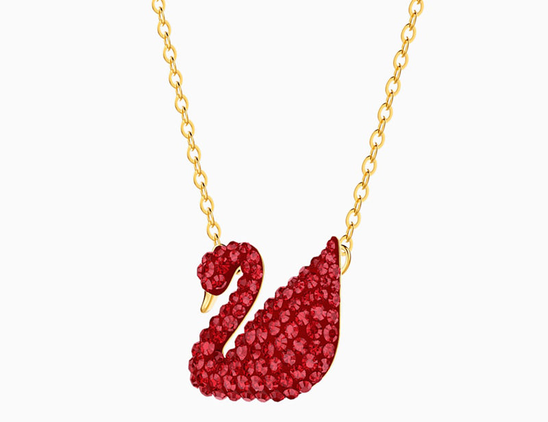 Swarovski's ICONIC SWAN PENDANT, RED, GOLD-TONE PLATED [ FREE SHIPPING ]