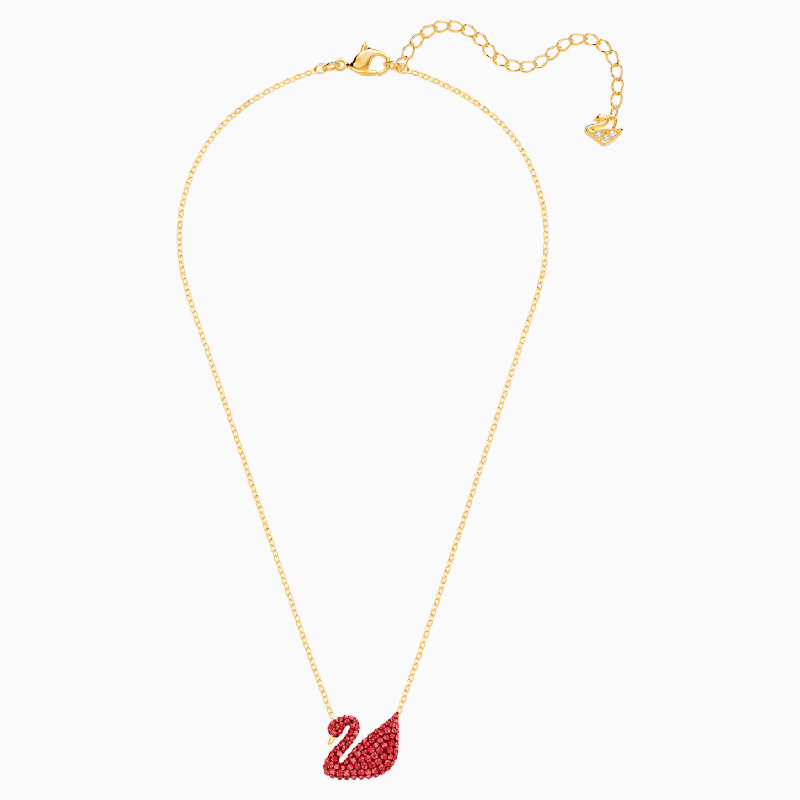 SWAROVSKI ICONIC SWAN PENDANT, RED, GOLD-TONE PLATED [ FREE SHIPPING ]