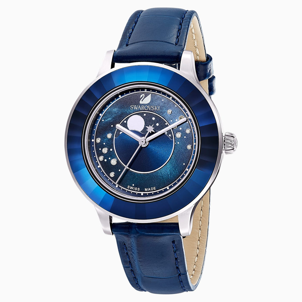 SWAROVSKI OCTEA LUX MOON WATCH, LEATHER STRAP, DARK BLUE, STAINLESS STEEL [ FREE SHIPPING ]