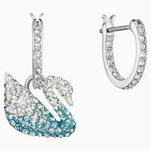 SWAROVSKI ICONIC SWAN PIERCED EARRINGS, MULTI-COLORED, RHODIUM PLATED