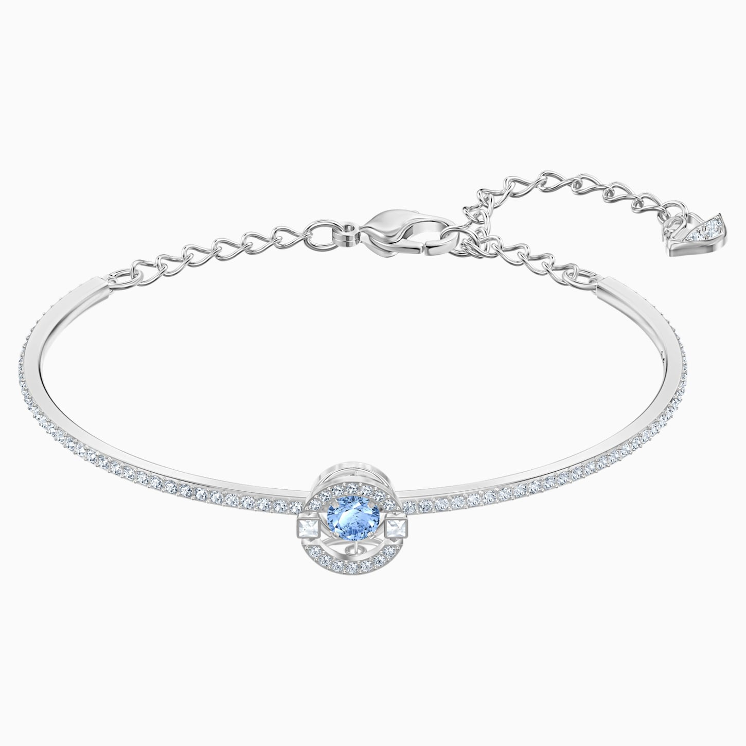 SWAROVSKI SPARKLING DANCE BANGLE, BLUE, RHODIUM PLATED [ FREE SHIPPING ]