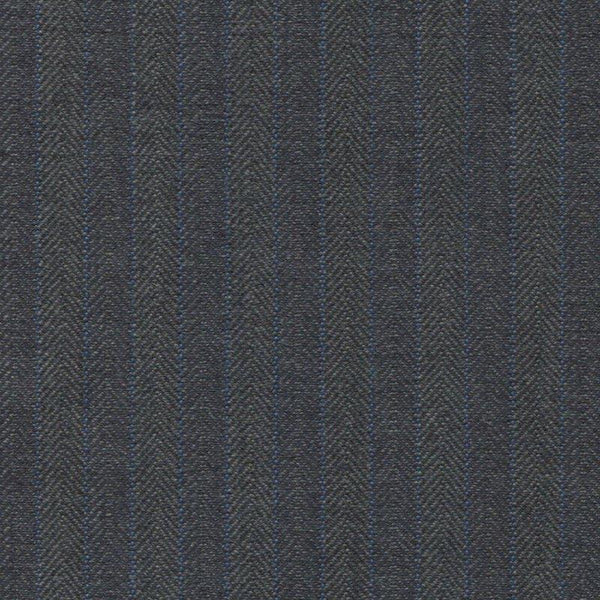 Holland & Sherry Portofino Mid Grey/Blue Herringbone Stripe 3/8 inch 118004