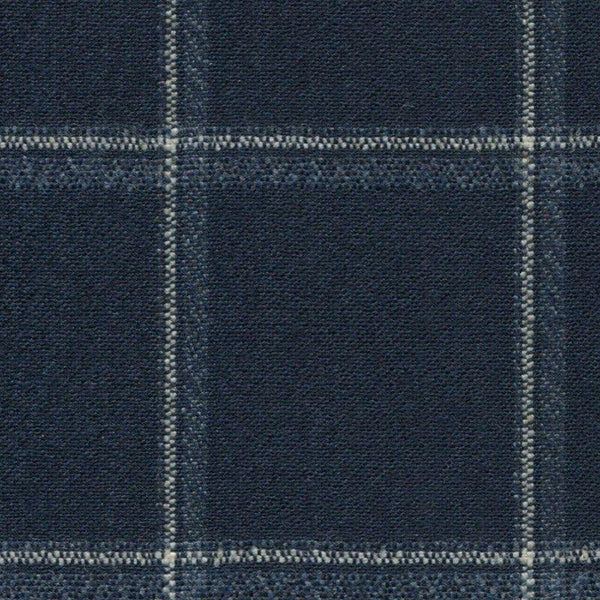 Holland & Sherry Oceania Navy with White/Slate Blue Double Windowpane 1 5/8 x 1 7/8 inch 168005