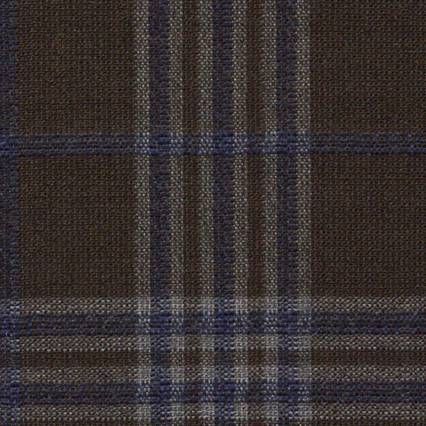 Holland & Sherry Oceania Brown/Navy Mock Glen Plaid 2 5/8 x 3 1/8 inch 168011