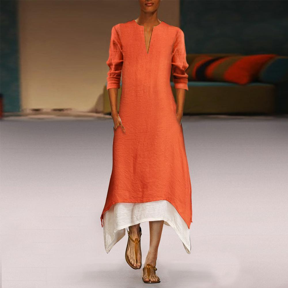 Cotton/linen Contrast Color Casual Maxi Dress With Pocket Orange / S