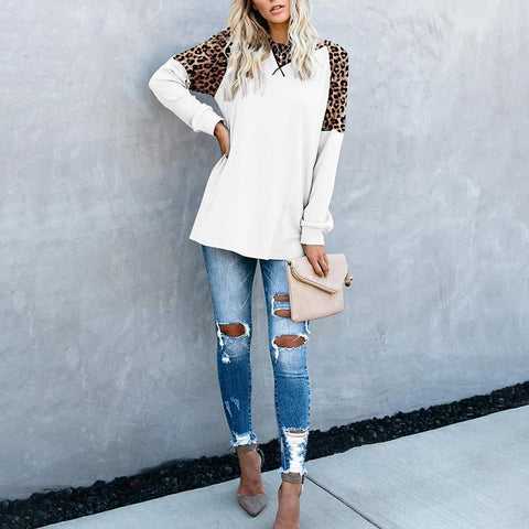 Casual Loose Leopard Print Top White / S