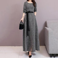 Fashion Long Sleeves Style Shown Thin Frenulum Knitted Maxi Dress Gray / S